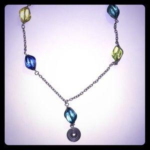 "Beads glass fashion necklace VTG Blues Long 34"""